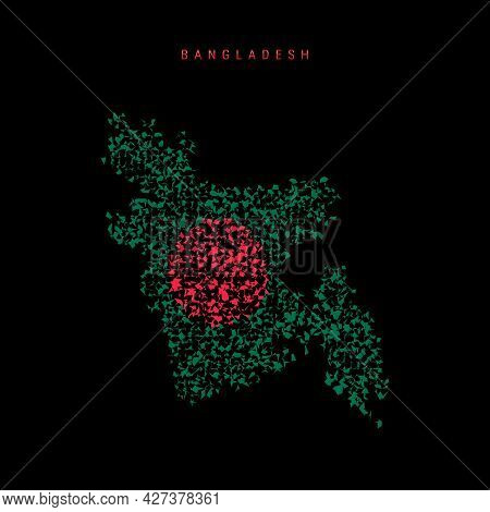 Bangladesh Flag Map, Chaotic Particles Pattern In The Colors Of The Bangladeshi Flag. Vector Illustr