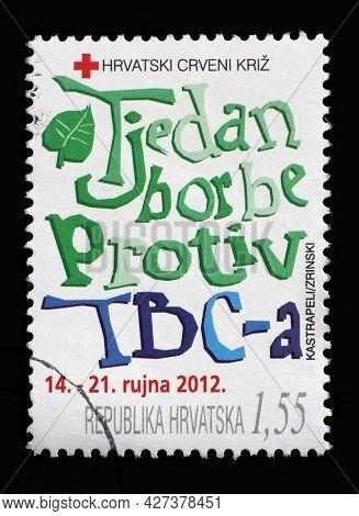 ZAGREB, CROATIA - AUGUST 29, 2014: A stamp printed in Croatia dedicated to anti tuberculosis week, circa 2012