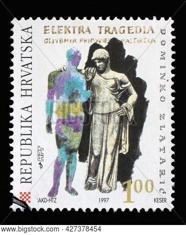 ZAGREB, CROATIA - AUGUST 29, 2014: A stamp printed in Croatia dedicated to Dominiko Zlataric, Ragusan poet and translator, circa 1997