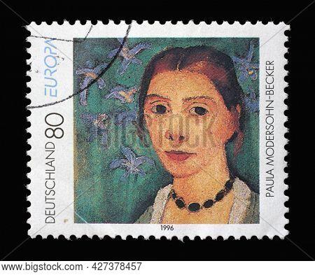 ZAGREB, CROATIA - AUGUST 29, 2014: A stamp printed in Germany shows Self-portrait, by Paula Modersohn-Becker (1876-1907), circa 1996