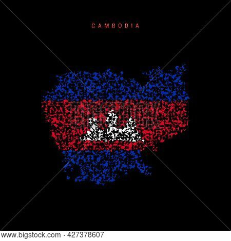 Cambodia Flag Map, Chaotic Particles Pattern In The Colors Of The Cambodian Flag. Vector Illustratio