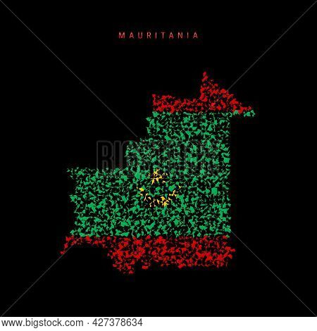 Mauritania Flag Map, Chaotic Particles Pattern In The Colors Of The Mauritanian Flag. Vector Illustr