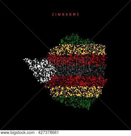 Zimbabwe Flag Map, Chaotic Particles Pattern In The Colors Of The Zimbabwean Flag. Vector Illustrati