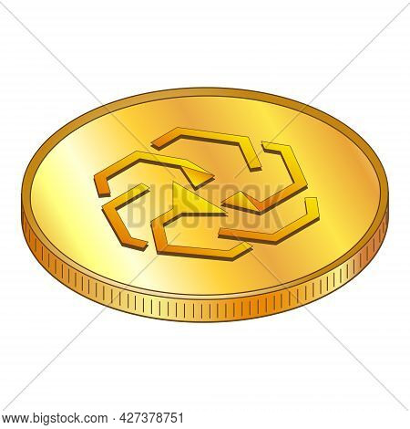 Gold Coins Unus Sed Leo In Isometric Top View Isolated On White. Vector Illustration.