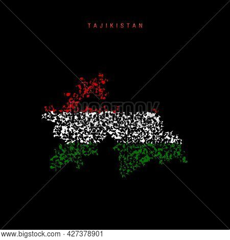 Tajikistan Flag Map, Chaotic Particles Pattern In The Colors Of The Tajik Flag. Vector Illustration