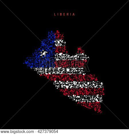 Liberia Flag Map, Chaotic Particles Pattern In The Colors Of The Liberian Flag. Vector Illustration