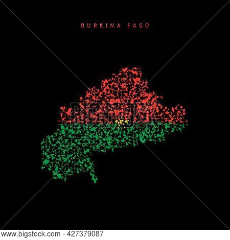 Burkina Faso Flag Map, Chaotic Particles Pattern In The Colors Of The Burkina Faso Flag. Vector Illu