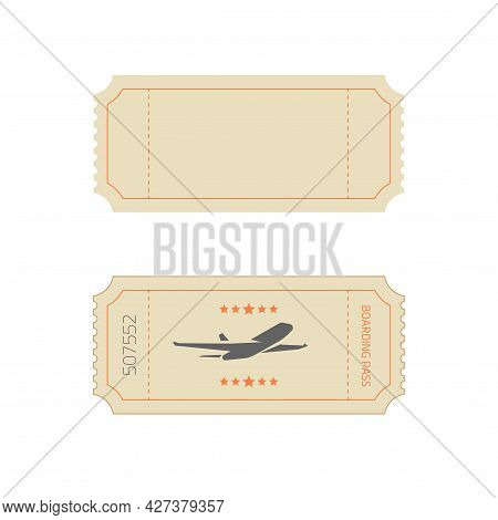 Ticket Template In Vintage Old Retro Style As Blank Empty Vector Design And Boarding Pass Example Fl
