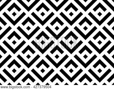 Abstract Geometric Pattern. A Seamless Vector Background. White And Black Ornament. Graphic Modern P