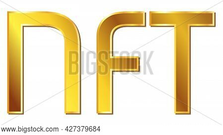 Gold Text Nft Non Fungible Token Design Element Isolated On White. Pay For Unique Collectibles In Ga