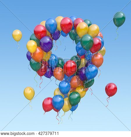 Number 9 nine from balloons in the sky. Text letter for age, holiday, birthday, celebration. 3d illustration