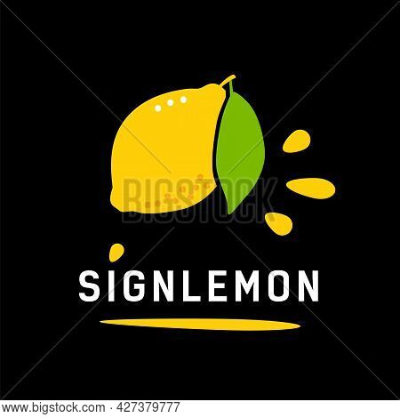 Ripe Yellow Lemon With Leaf. Logo Concept For Healthy Food