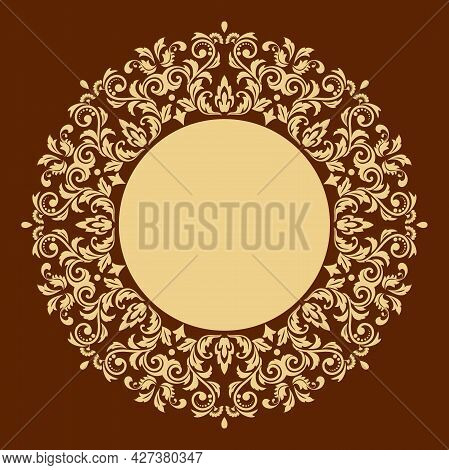 Decorative Frame Elegant Vector Element For Design In Eastern Style, Place For Text. Floral Golden A