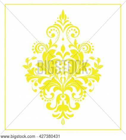Damask Graphic Ornament. Floral Design Element. Yellow And White Vector Pattern
