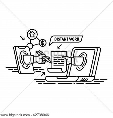 Modern Distant Work Icon. Outline Modern Distant Work Vector Icon For Web Design Isolated On White B