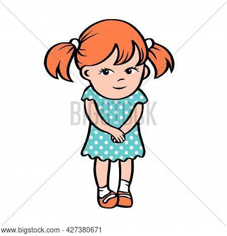 A Cute Little Girl Is Standing In A Dress. Shy Cartoon Character. Preschool Children. Vector Isolate