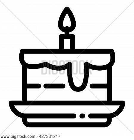Homemade Birthday Cake Icon. Outline Homemade Birthday Cake Vector Icon For Web Design Isolated On W