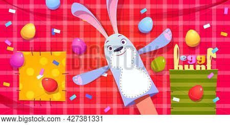 Egg Hunt Poster. Concept Of Easter Celebration Party, Spring Holiday Event. Vector Background With C