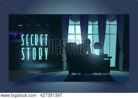 Secret Story Tour Banner With Spy Investigates In Night Office. Adventure Detective Game In Noir Sty