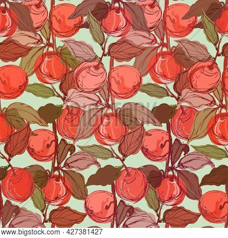 Modern Seamless Stylized Design Vector Pattern With Red Peaches And Apricots On Green Background