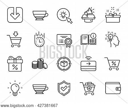 Vector Set Of Light Bulb, Discount Offer And Fast Delivery Line Icons Set. Present Box, Online Marke