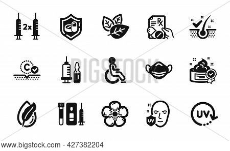 Vector Set Of Medical Vaccination, Collagen Skin And Anti-dandruff Flakes Icons Simple Set. Hypoalle