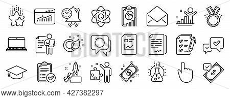 Set Of Education Icons, Such As Chemistry Lab, Time Management, Innovation Icons. Mail, Document Sig
