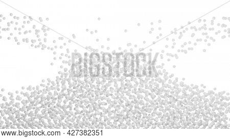3D illustration of a pile of white particles