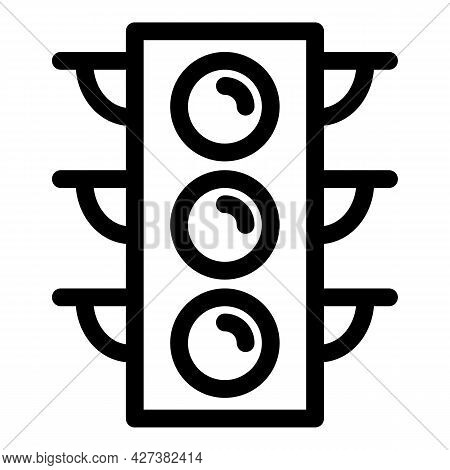 Traffic Lights Icon. Outline Traffic Lights Vector Icon For Web Design Isolated On White Background