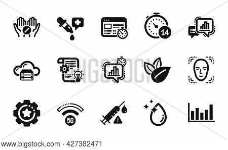 Vector Set Of Settings Gear, Water Drop And Statistics Timer Icons Simple Set. 5g Wifi, Chemistry Pi