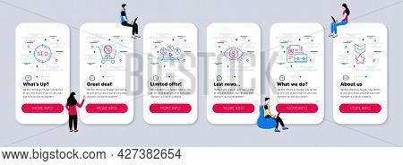 Vector Set Of Line Icons Related To Seo, Video Conference And Shopping Cart Icons. Ui Phone App Scre