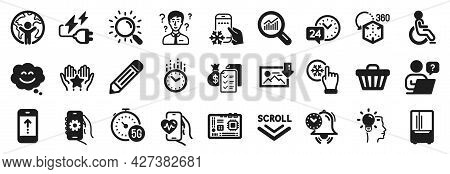 Set Of Technology Icons, Such As Refrigerator, Augmented Reality, 5g Internet Icons. Smile Chat, Scr
