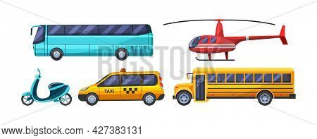 Urban Transport Set. Public Transportable Vehicle Cars Transport: Bus, Scooter, Taxi, School Bus, He