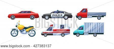 Urban Transport Set. Public Transportable Vehicle Cars Transport: Ambulance, Gazelle, Motorcycle, Lo