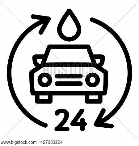 24 Hour Car Wash Icon. Outline 24 Hour Car Wash Vector Icon For Web Design Isolated On White Backgro