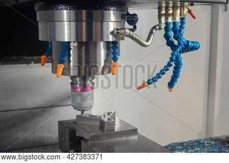 Automated Cnc Turning Milling Machine With Cooling System Cutting Metal Workpiece At Factory, Exhibi