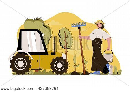 Advanced Farming Concept. Woman Works On Farm Situation. Harvesting, Smart Gardening, Agricultural T