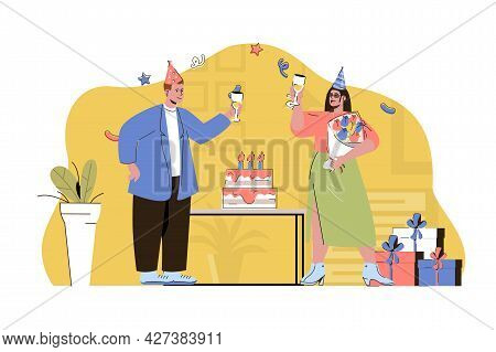 Birthday Party Concept. Man Congratulates Woman, Gives Her Flowers Bouquet Situation. Festive Event