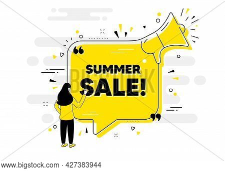 Summer Sale Text. Alert Megaphone Chat Banner With User. Special Offer Price Sign. Advertising Disco