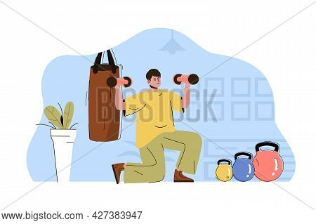 Body Training Concept. Man Exercising With Dumbbells, Workout In Gym Situation. Active Sport, Fitnes