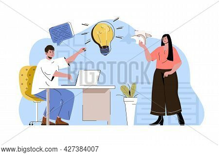 Business Idea Concept. Employees Brainstorm And Find Creative Solution To Tasks Situation. Office Te
