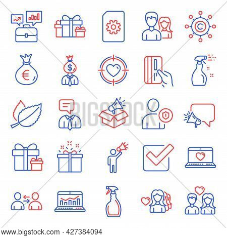 Line Icons Set. Included Icon As Woman Love, File Management, Payment Card Signs. Mint Leaves, Busin