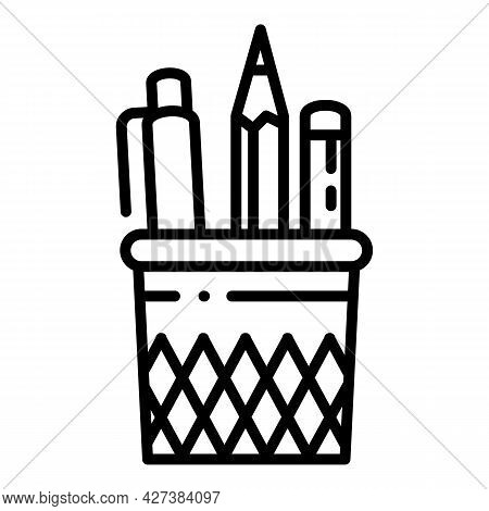 Pencil Case Glass Icon. Outline Pencil Case Glass Vector Icon For Web Design Isolated On White Backg