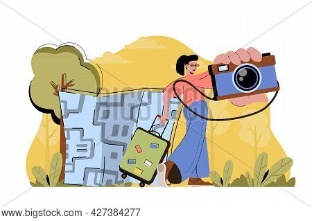 Capture Impressions Concept. Woman With Photo Camera Going On Vacation Situation. Memorable Moments