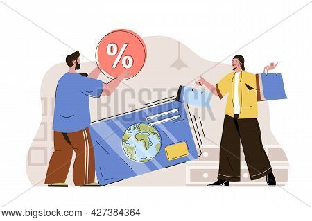 Cashless Payments Concept. Woman Pays For Purchases With Credit Card At Online Banking Situation. Sh