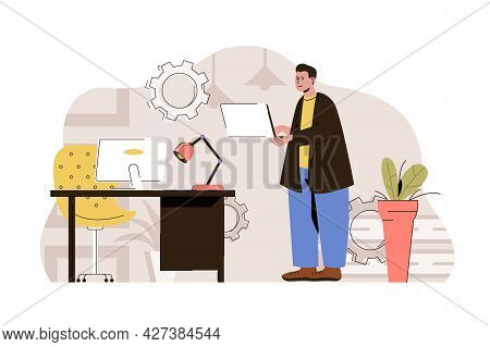 Computer Technologies Concept. Developer Works On Laptop, Creates Software Situation. Programmer In