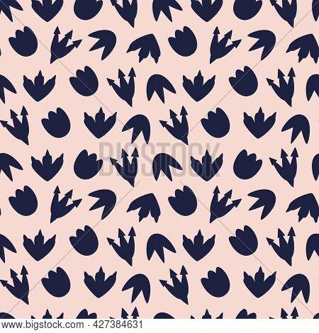 Vector Illustration Of Seamless Pattern With Dinosaur..dark Blue Dinosaur Footprint On A Peach Backg