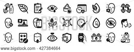 Set Of Healthcare Icons, Such As Drop Counter, Vaccine Report, Dumbbell Icons. Cardio Calendar, Worl