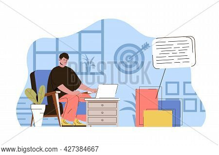 Content Marketing Concept. Marketer Writes Texts, Makes Ad Campaigns Situation. Management, Business