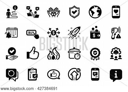 Vector Set Of Technology Icons Related To Dollar Exchange, Hold Box And Startup Rocket Icons. Confir